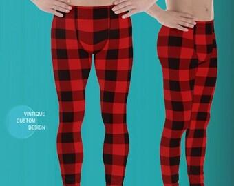 MENS LEGGINGS PLAID Red and Black Buffalo Check Plaid Yoga Pants for Men Christmas Leggings Mens Leggings Matching Leggings Daddy and Me