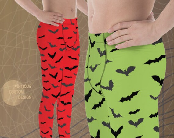 BAT LEGGINGS MENS Halloween Bat Print Leggings Meggings Mens Yoga Pants Halloween Leggings for Men Red or Green and Black Gift for Him