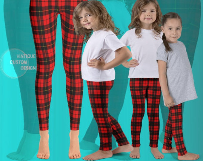 Featured listing image: Red Tartan PLAID CHRISTMAS LEGGINGS Mommy and Me Christmas Outfit Matching Leggings Baby Leggings Red Toddler Leggings Youth Leggings Kids