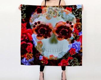 SUGAR SKULL SCARF for Womens Designer Fashion Scarf Womens Scarves Square Art Print Scarf Gift for Girlfriend Womens Accessories Sugar Skull