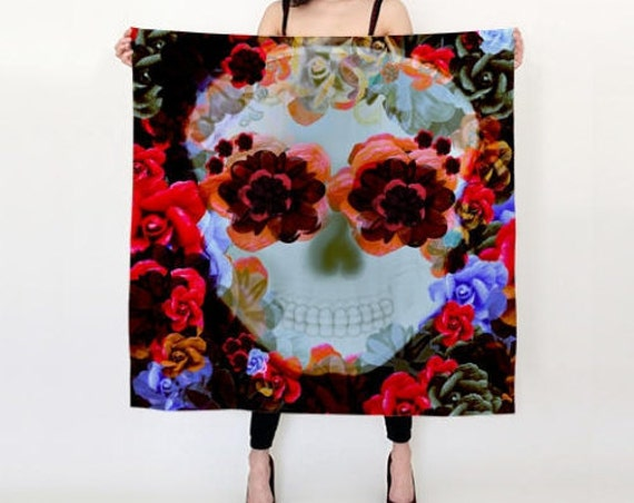 SUGAR SKULL SCARF for Womens Designer Fashion Scarf Womens Scarves Square Art Print Scarf Gift for Girlfriend Womens Accessories Sugar Skull
