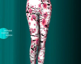 LEGGINGS YOGA PANTS Womens Sexy Print Leggings Pink and White Japanese Cherry Blossom Floral Leggings Easter Leggings Gift for Mothers Day