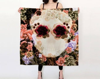 Designer FASHION SCARF - WOMENS Scarves - Scarf for Woman - Gift for Girlfriend - Sugar Skull Scarf - Fashion Accessories - Scarf - Scarves