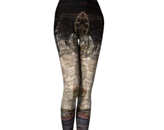 Steam Punk Leggings Pattern Yoga Pants WOMENS Punk Leggings Cyberpunk Clothing Futuristic Clothing Cosplay Harley Quinn Steam Punk Leggings