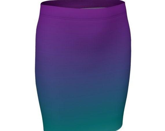 OMBRE Skirt Womens SPRING Skirt Spring Clothing Designer Fashion Skirt for Women Purple Teal Ombre Skirt Fit or Flare High Waisted Skirt