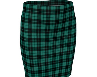 GREEN Tartan PLAID SKIRT Womens Plaid Skirts Tartan Plaid Skirt for Women Green Plaid Flare Skirt Fitted Skirt Plaid Skirt Womens Christmas