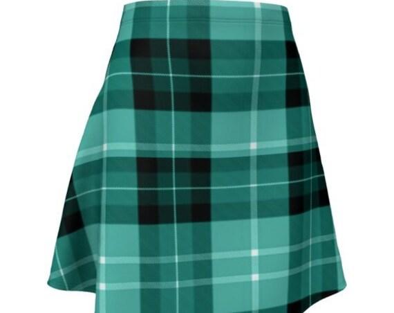 PLAID SKIRT Womens TARTAN Plaid Skirt Green Tartan Plaid High Waisted Skirt Flare Skirt for Women Sexy Mini Skirt Plaid Skirt School Girl