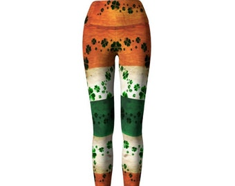 ST. PATRICK'S DAY Leggings for Women Yoga Pants Yoga Leggings Irish Flag and Shamrock Four Leaf Clover Printed Leggings Orange Green & White