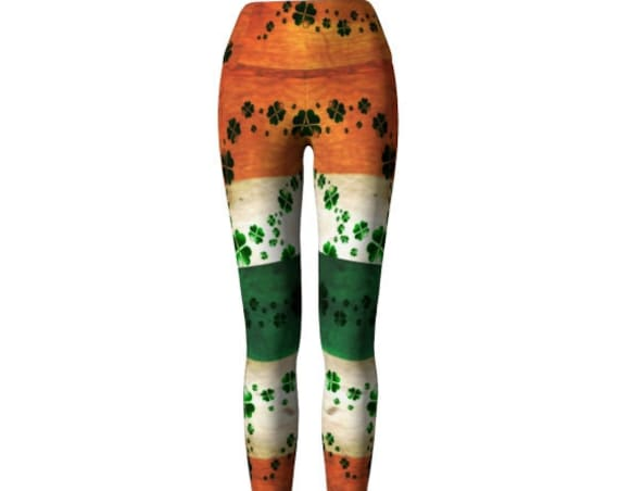 ST. PATRICK'S DAY Leggings for Women Yoga Pants Yoga Leggings Irish Flag and Shamrock Four Leaf Clover Printed Leggings Orange Green & White
