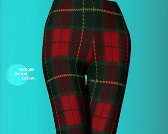 Plaid LEGGINGS Red TARTAN PLAID Yoga Leggings Womens Leggings Yoga Pants Printed Leggings Red Plaid Leggings for Women Designer Leggings