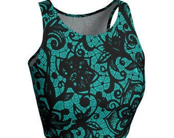 Womens CROP TOP Sexy Crop Top for Women Teal and Black Lace Print Design Workout Clothing Yoga Top Cute Crop Top Sexy Tops for Women Ladies