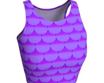 MERMAID CROP TOP Sexy Crop Tops for Women Purple Mermaid Fish Scale Crop Top Festival Fashion Rave Clothing Sexy Yoga Tops Womens Crop Top