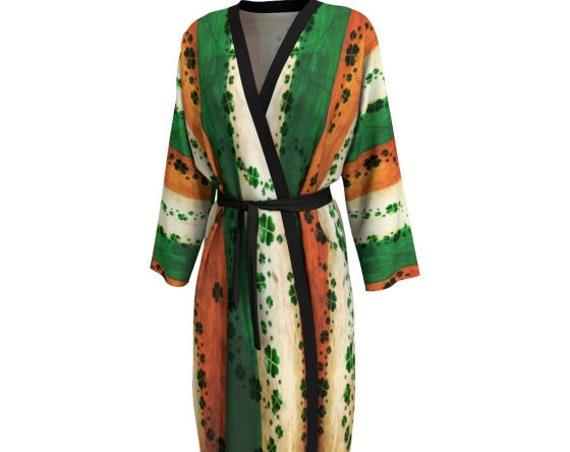 St. Patricks Day Kimono ROBE Womens Long Peignoir Kimono Robe Shamrock Clover Robe Saint Patricks Robe Saint Patties Day Irish Flag Clothing