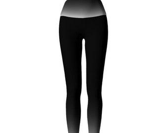 YOGA PANTS Womens LEGGINGS Black White Leggings for Women Yoga Leggings Black White and Grey Ombre Leggings Work-out Leggings Work Out Pants