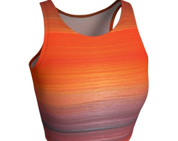 WOMENS CROP TOP Orange Ombre Print Work Out Clothing Fitness Top Yoga Top Running Top Soul Cycle Cycling Clothing Festival Fashion Shirt