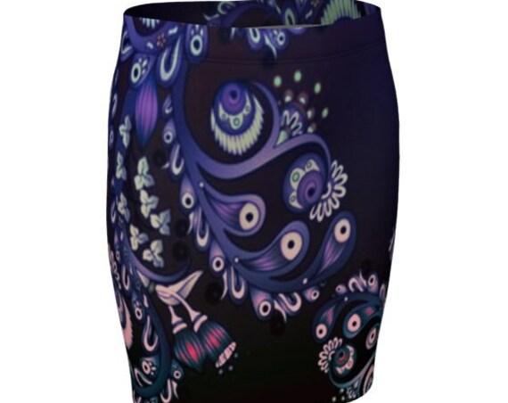Floral Paisley SKIRT WOMENS Spring Floral Flower Print Design FASHION Skirt for Women Designer Fashion Skirt High Waisted Skirt Fitted Skirt