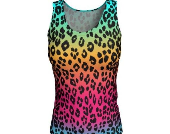 WOMENS TANK TOP Rainbow Ombre Cheetah Leopard Print Animal Print Tank Top Women's Clothing Work-Out Tank Top Running Tank Top Yoga Tank Top