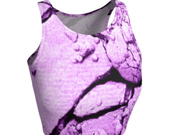 Purple CROP TOP Womens Athletic Crop Top YOGA Top Sleeveless Scoop Neck Crop Top Work-out Clothing Work Out Top Cycling Top Sports Bra