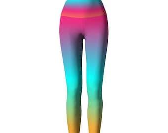 RAINBOW LEGGINGS Ombre Rainbow Colorful Fashion Tights WOMENS Yoga Leggings Yoga Pants for Women Printed Leggings Tribal Art Leggings