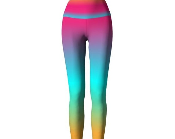 Neon Rainbow Leggings WOMENS Ombre Leggings Festival YOGA LEGGINGS Colorful Work out Yoga Pants for Women Rave Leggings Burning Man Leggings