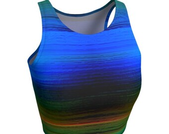 Blue Rave CROP TOP Womens Club Clothing Rave Clothing Festival Outfit Burning Man Top Shirt for Women Yoga Top Work Out Top Sexy Crop Top