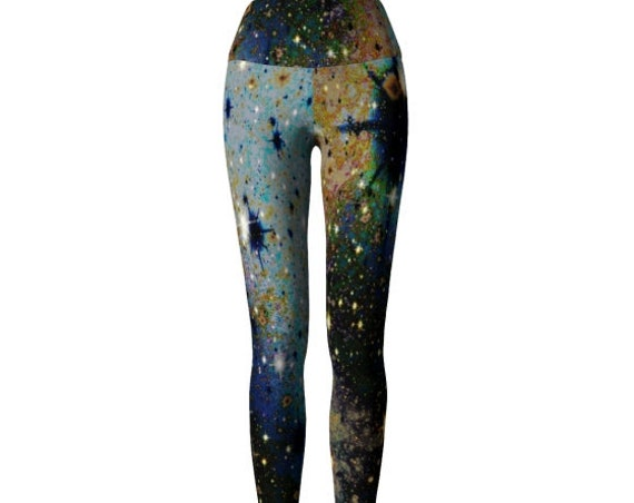 YOGA LEGGINGS Womens Designer Yoga Leggings Galaxy Art Printed Leggings Work Out Clothing Cosmic Space Leggings Gold Blue Festival Fashion