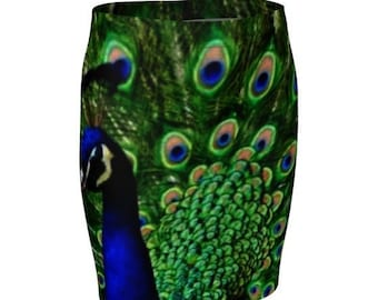 PEACOCK FEATHER SKIRT Women's Designer Fashion Skirt Peacock Skirt Blue and Green Skirt Animal Print Skirt High Waisted Fitted Skirt Spring