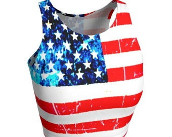 USA CROP TOP Womens American Flag Print Crop Top for Women Red White and Blue Running Tank Top Yoga Top Festival Top Crop Top Activewear