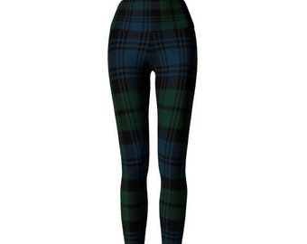 YOGA PANTS LEGGINGS Green Tartan Plaid Leggings Womens Clothing Sexy Print Leggings Sexy Yoga Pants St Pattys Day Sexy Yoga Pants for Women