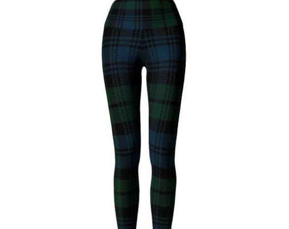 YOGA PANTS LEGGINGS Green Tartan Plaid Leggings Womens Clothing Sexy Print Leggings Sexy Yoga Pants St Pattys Day Sexy Yoga Pants for Women