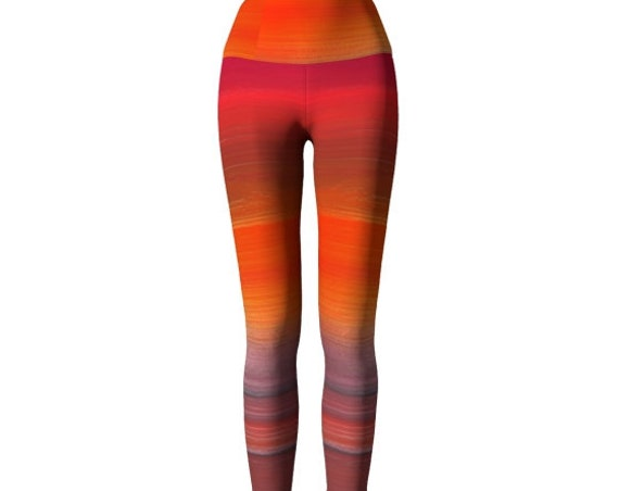 Bright YOGA PANTS Yoga Leggings for Women Art Leggings Festival Fashion Clothing Work out Pants Orange Tangerine Rainbow Print Leggings