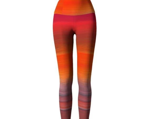 Bright YOGA PANTS Yoga Leggings for Women Art Leggings Festival Fashion Clothing Work out Pants Orange Tangerine Rainbow Print Leggings
