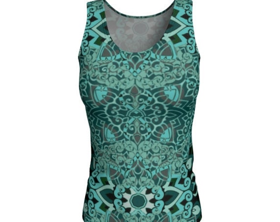 Women's TANK TOP Work-out Tank Top for Women Green Floral Print Lotus Flower Sacred Geometry Yoga Top Running Tank Top Scoop Neck Tank Top