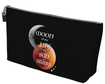 TOTE Bag Game of Thrones Gift Make up Bag Cosmetic Bag Game of Thrones Quote from Khal and Khaleesi Sun and Moon Stars Moon of my Life