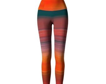 YOGA PANTS Womens Rainbow Bright Yoga LEGGINGS Painted Ombre Rainbow Festival Leggings Rave Clothing Tribal Printed Leggings Hippie Clothing
