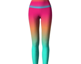 Pink Rainbow Ombre LEGGINGS Womens Bright YOGA PANTS Yoga Leggings for Women Art Leggings Festival Fashion Hippie Clothing Work out Pants