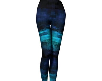 Blue Tribal Ombre LEGGINGS YOGA LEGGINGS Yoga Pants Womens Printed Leggings Womens Fashion Leggings Tribal Fusion Fitness Leggings Work Out