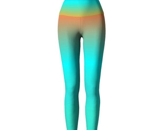 LEGGINGS WOMENS Yoga Pants YOGA Leggings - Tribal Print Leggings - Hippie Clothing - Sunset - Color Vibes - Burning Man - Festival Leggings