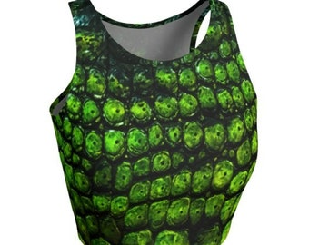 CROCODILE CROP TOP Womens Crop Top Athletic Crop Top for Women Green Reptile Scale Snake Skin Top Yoga Top Work-out Top Gym Top Cycling Top