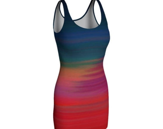 Rainbow DRESS Bodycon Dress Womens Sexy Rave Dress Club Dress Womens Sexy Mini Dress Sexy Party Dress Short Tight Dress Rave Club Dresses
