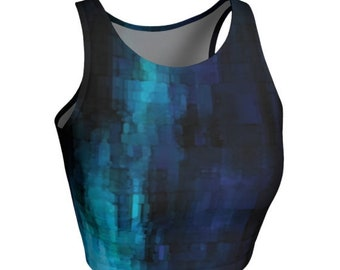 CROP TOP Womens Top Athletic Crop Top Gym Workout Fitness Activewear Yoga Clothing Women Activewear Top Crop Top Blue Sexy Top Festival Top