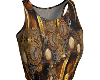STEAMPUNK CROP TOP Steampunk Clocks and Gears Top Cyberpunk Futuristic Clothing Womens Crop Top Yoga Top for Women Rave Top Armor Clothing
