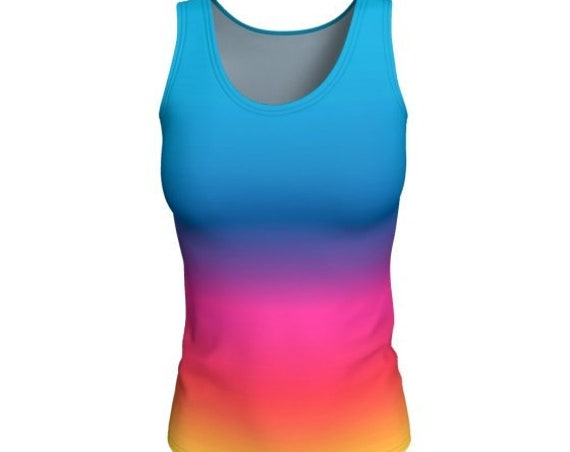 TANK TOP for WOMEN Tank Top Ombre Tank Top Jersey Tank Top Work Out Top Rave Tank Top Festival Tank Top Women's Yoga Top Athletic Tank top