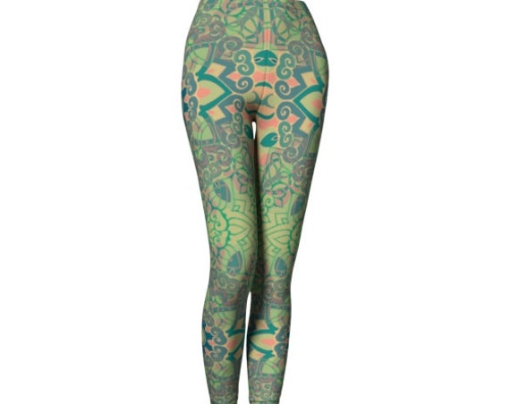 YOGA LEGGINGS Sacred Geometry WOMENS Yoga Pants Mandala Leggings Womens Leggings Sexy Print Leggings Festival Leggings Burning Man Clothing