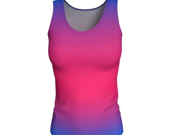 WORK OUT Tank Top Womens Yoga Tank TOP Pink Purple Ombre Shirt Women's Sleeveless Tank Top Scoop Neck Tank Jersey Knit Fabric Gym Tank Top