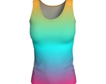 Rainbow Tank Top WORK OUT TANK Womens Yoga Tank Top Ombre Shirt Women's Sleeveless Tank Top Scoop Neck Tank Jersey Knit Fabric Gym Tank Top