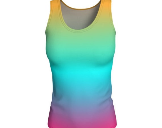 Rainbow Tank Top WORK OUT TANK Womens Yoga Tank Top Ombre Shirt Women's Sleeveless Tank Top Scoop Neck Tank Jersey Knit Fabric Gym Tank Top