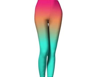 YOGA LEGGINGS WOMENS Yoga Pants Malibu Sunset Rainbow Leggings Sexy Print Leggings for Women Rave Clothing Hippie Leggings Tribal Leggings