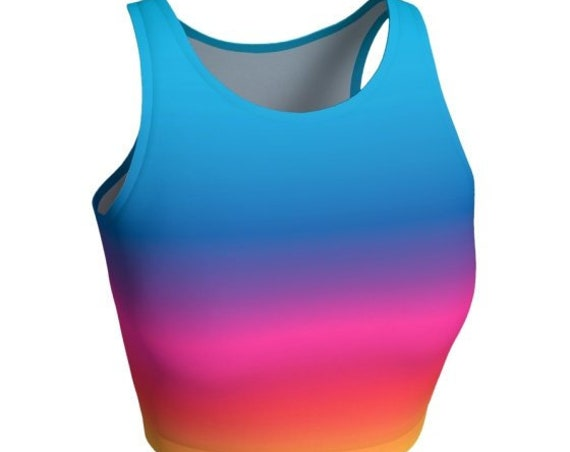 RAVE CROP TOP Womens Athletic Crop Top Rainbow Ombre Pattern Festival Crop Top Sexy Top for Women Workout Clothing Yoga Top Cycling Top