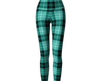 Green TARTAN Plaid LEGGINGS Womens Yoga Pants Sexy Print Leggings Womens Sexy Leggings Sexy Womens Leggings Sexy Yoga Pants St Pattys Day